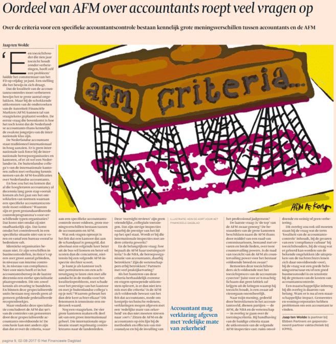 Oordeel AFM over accountants roept veel vragen op